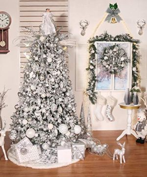 Valery Madelyn 48 Inch Frozen Winter Silver White Christmas Tree Skirt With Sequins And Faux Fur Themed With Christmas Ornaments Not Included 0 5 300x360