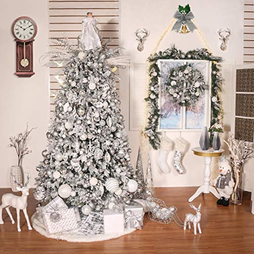 Valery Madelyn 48 Inch Frozen Winter Silver White Christmas Tree Skirt With Sequins And Faux Fur Themed With Christmas Ornaments Not Included 0 5
