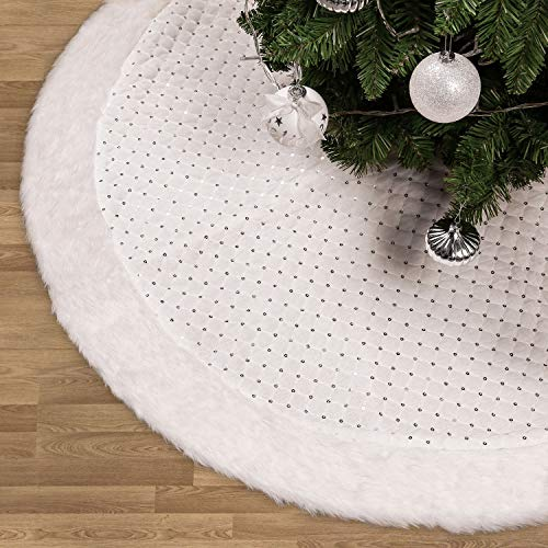 Valery Madelyn 48 Inch Frozen Winter Silver White Christmas Tree Skirt With Sequins And Faux Fur Themed With Christmas Ornaments Not Included 0