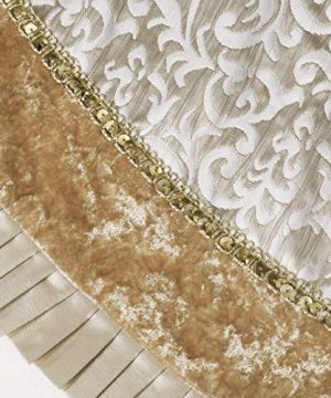 Valery Madelyn 48 Inch Luxury Gold Christmas Tree Skirt With Baroque Patterns And Ruffle Trim Themed With Christmas Ornaments Not Included 0 1 300x360