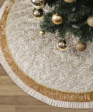Valery Madelyn 48 Inch Luxury Gold Christmas Tree Skirt With Baroque Patterns And Ruffle Trim Themed With Christmas Ornaments Not Included 0 300x360
