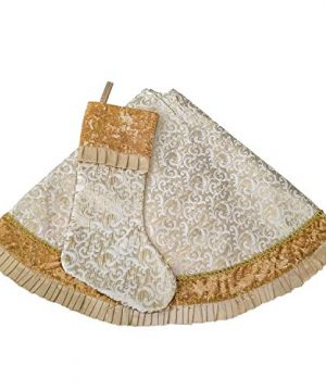 Valery Madelyn 48 Inch Luxury Gold Christmas Tree Skirt With Baroque Patterns And Ruffle Trim Themed With Christmas Ornaments Not Included 0 4 300x360