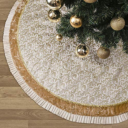 Valery Madelyn 48 Inch Luxury Gold Christmas Tree Skirt With Baroque Patterns And Ruffle Trim Themed With Christmas Ornaments Not Included 0