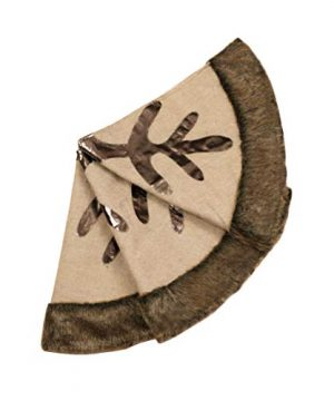 Valery Madelyn 48 Inch Woodland Burlap Christmas Tree Skirt With Snowflake And Faux Fur Themed With Christmas Ornaments Not Included 0 1 300x360