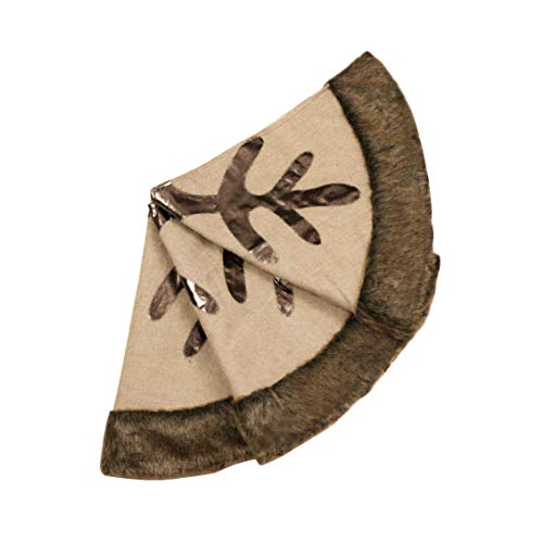 Valery Madelyn 48 Inch Woodland Burlap Christmas Tree Skirt With Snowflake And Faux Fur Themed With Christmas Ornaments Not Included 0 1