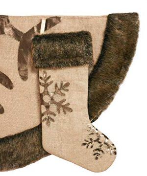 Valery Madelyn 48 Inch Woodland Burlap Christmas Tree Skirt With Snowflake And Faux Fur Themed With Christmas Ornaments Not Included 0 2 300x360