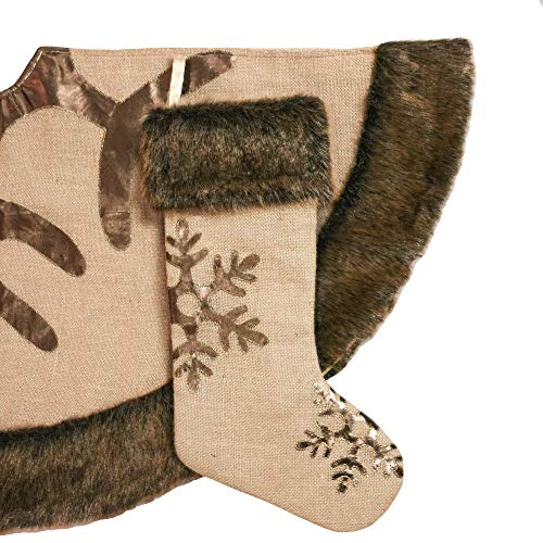 Valery Madelyn 48 Inch Woodland Burlap Christmas Tree Skirt With Snowflake And Faux Fur Themed With Christmas Ornaments Not Included 0 2