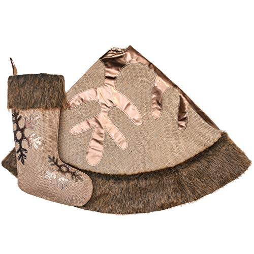 Valery Madelyn 48 Inch Woodland Burlap Christmas Tree Skirt With Snowflake And Faux Fur Themed With Christmas Ornaments Not Included 0 3