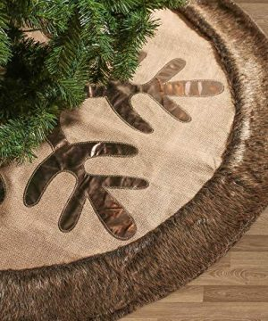 Valery Madelyn 48 Inch Woodland Burlap Christmas Tree Skirt With Snowflake And Faux Fur Themed With Christmas Ornaments Not Included 0 300x360