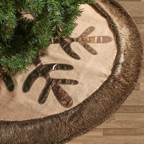 Valery Madelyn 48 Inch Woodland Burlap Christmas Tree Skirt With Snowflake And Faux Fur Themed With Christmas Ornaments Not Included 0