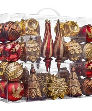 Valery Madelyn 50ct Woodland Shatterproof Christmas Ball Ornaments Decoration Red Brown276Inch 709 Inch For Christmas Tree Decorations Included 0 300x360