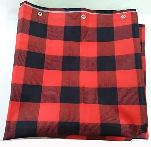 Vandarllin Fabric Shower Curtain 48X72 InchWaterproof WashableRustic Red Black Buffalo Check Plaid Pattern Barh Curtains 0 1