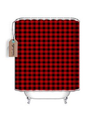Vandarllin Fabric Shower Curtain 48X72 InchWaterproof WashableRustic Red Black Buffalo Check Plaid Pattern Barh Curtains 0 300x360