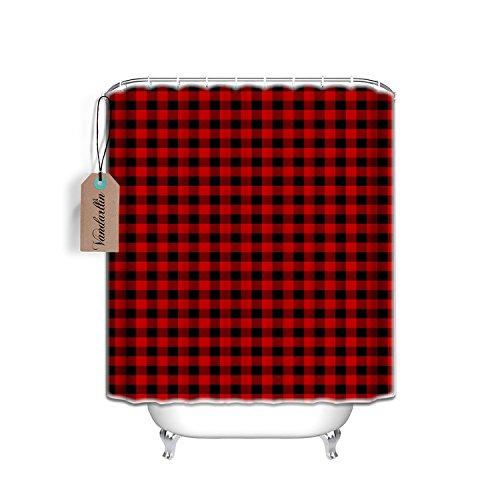 Vandarllin Fabric Shower Curtain 48X72 InchWaterproof WashableRustic Red Black Buffalo Check Plaid Pattern Barh Curtains 0