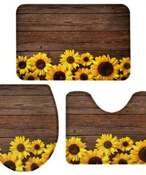 Vandarllin Sunflowers Rustic Barn Wood 3 Piece Plush Bathroom Rugs Set Non Slip Water Absorbent Shower Bath Mats U Shape Contoured Toilet Mat Lid Cover 20x3116x1816x20 Brown 0 300x360