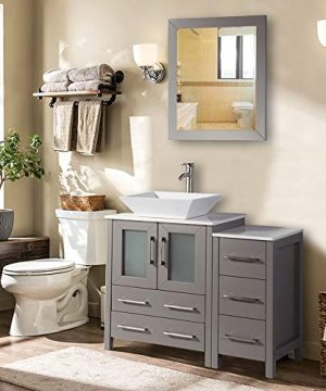 Vanity Art 36 Inch Single Sink Bathroom Vanity Combo Set 5 Drawers 1 Shelf 2 Cabinet White Quartz Top And Ceramic Vessel Sink Bathroom Cabinet With Free Mirror VA3124 36 G 0 300x360