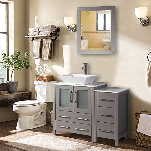 Vanity Art 36 Inch Single Sink Bathroom Vanity Combo Set 5 Drawers 1 Shelf 2 Cabinet White Quartz Top And Ceramic Vessel Sink Bathroom Cabinet With Free Mirror VA3124 36 G 0