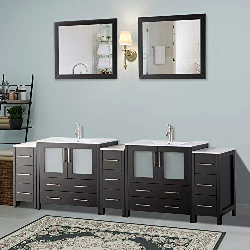 Vanity Art 96 Inch Double Sink Modern Bathroom Vanity Set With Compact 2 Shelf 13 Drawer White Ceramic Top Bathroom Cabinet With Free Mirror VA3030 96 E 0 0