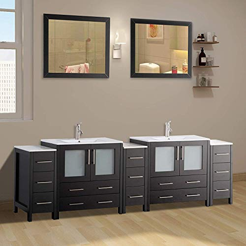 Vanity Art 96 Inch Double Sink Modern Bathroom Vanity Set With Compact 2 Shelf 13 Drawer White Ceramic Top Bathroom Cabinet With Free Mirror VA3030 96 E 0 2