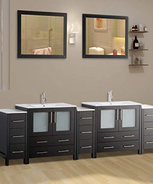 Vanity Art 96 Inch Double Sink Modern Bathroom Vanity Set With Compact 2 Shelf 13 Drawer White Ceramic Top Bathroom Cabinet With Free Mirror VA3030 96 E 0 300x360