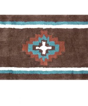 Veratex Pueblo Collection Modern Contemporary Patterned Style Cotton Bathroom Accessory Bath Rug Rust 0 300x360