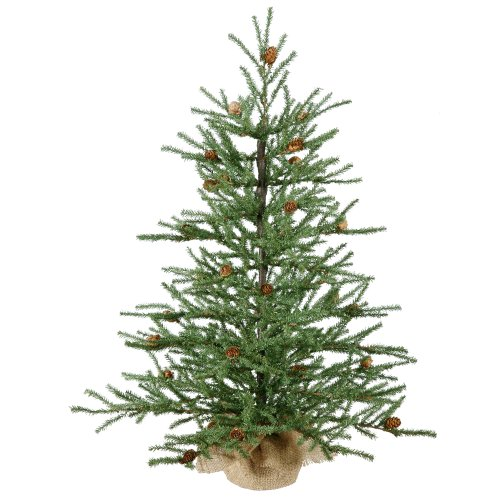 Vickerman 36 Carmel Pine Artificial Christmas Tree With Cones And Burlap Base 0