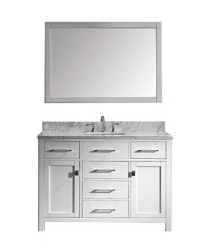 Virtu USA Caroline 48 Inch Single Sink Bathroom Vanity Set In White W Square Undermount Sink Italian Carrara White Marble Countertop No Faucet 1 Mirror MS 2048 WMSQ WH 0 300x360