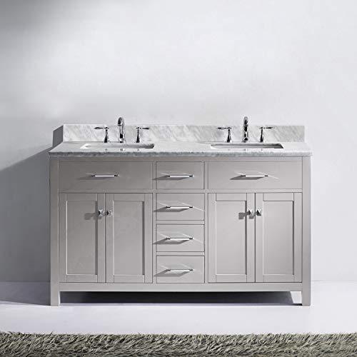 Virtu USA MD 2060 WMSQ CG NM Caroline Bathroom Vanity 60 Inches Cashmere Grey 0 0
