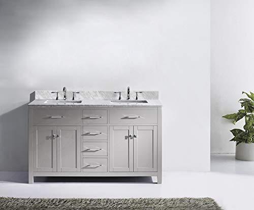 Virtu USA MD 2060 WMSQ CG NM Caroline Bathroom Vanity 60 Inches Cashmere Grey 0 1
