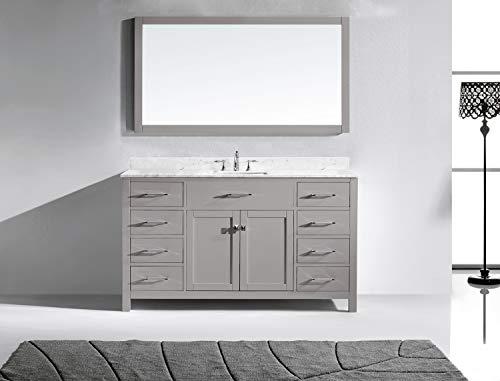 Virtu USA MS 2060 WMSQ CG Caroline Bathroom Vanity 60 Inches Cashmere Grey 0 1