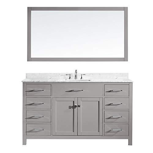 Virtu USA MS 2060 WMSQ CG Caroline Bathroom Vanity 60 Inches Cashmere Grey 0