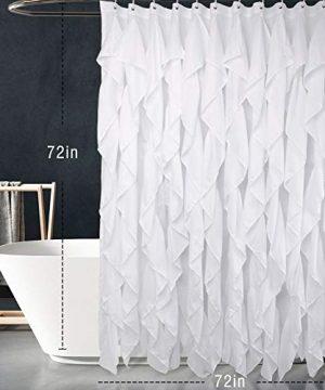 Volens White Ruffle Shower Curtain Farmhouse Fabric Cloth Shower Curtains For Bathroom 72x72 In Long 0 0 300x360