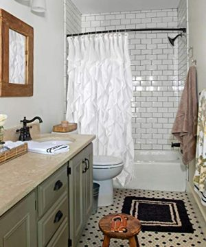 Volens White Ruffle Shower Curtain Farmhouse Fabric Cloth Shower Curtains For Bathroom 72x72 In Long 0 1 300x360