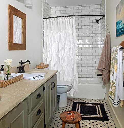 Volens White Ruffle Shower Curtain Farmhouse Fabric Cloth Shower Curtains For Bathroom 72x72 In Long 0 1
