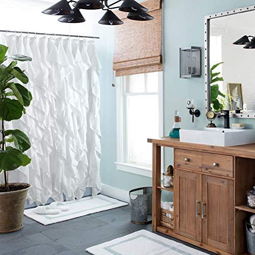 Volens White Ruffle Shower Curtain Farmhouse Fabric Cloth Shower Curtains For Bathroom 72x72 In Long 0 2