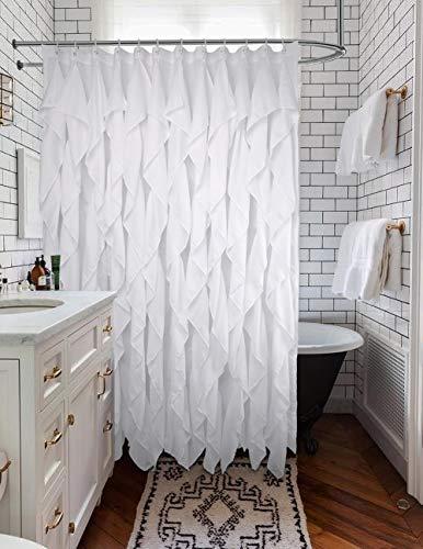Volens White Ruffle Shower Curtain Farmhouse Fabric Cloth Shower Curtains For Bathroom 72x72 In Long 0 3