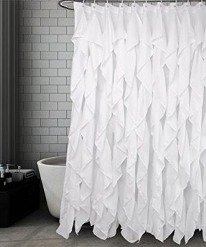Volens White Ruffle Shower Curtain Farmhouse Fabric Cloth Shower Curtains For Bathroom 72x72 In Long 0 300x360