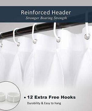 Volens White Ruffle Shower Curtain Farmhouse Fabric Cloth Shower Curtains For Bathroom 72x72 In Long 0 5 300x360