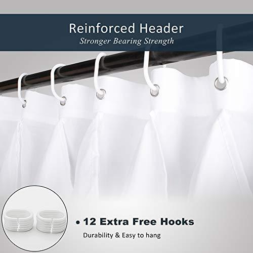 Volens White Ruffle Shower Curtain Farmhouse Fabric Cloth Shower Curtains For Bathroom 72x72 In Long 0 5