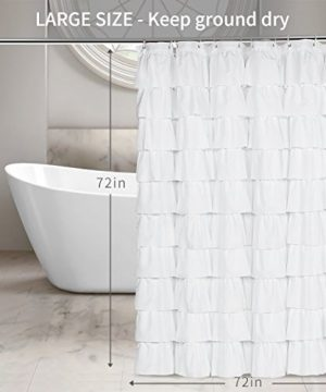 Volens White Shower Curtain FabricRuffle For Bathroom72in Long 0 0 300x360