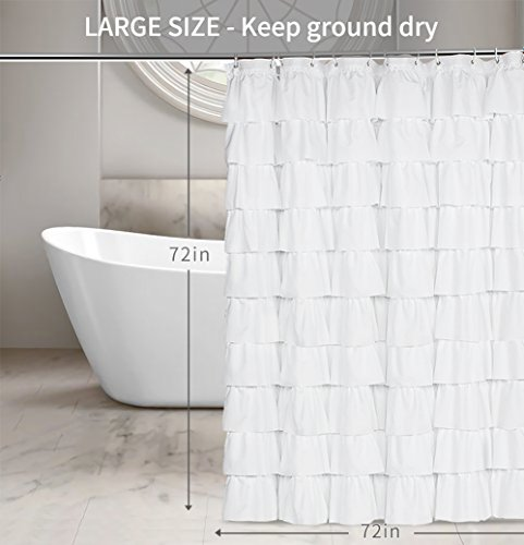 Volens White Shower Curtain FabricRuffle For Bathroom72in Long 0 0