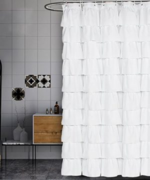Volens White Shower Curtain FabricRuffle For Bathroom72in Long 0 300x360
