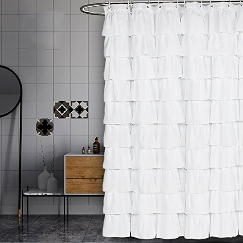 Volens White Shower Curtain FabricRuffle For Bathroom72in Long 0