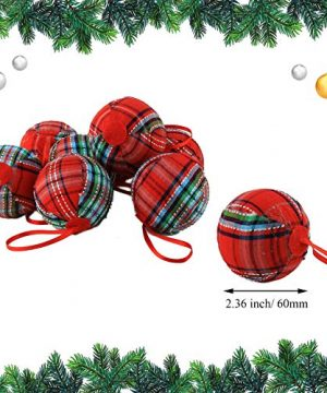 WEWILL 236 60mm Red Plaid Ball Christmas Ornament Party DecorationSet Of 10 Style 2 0 0 300x360