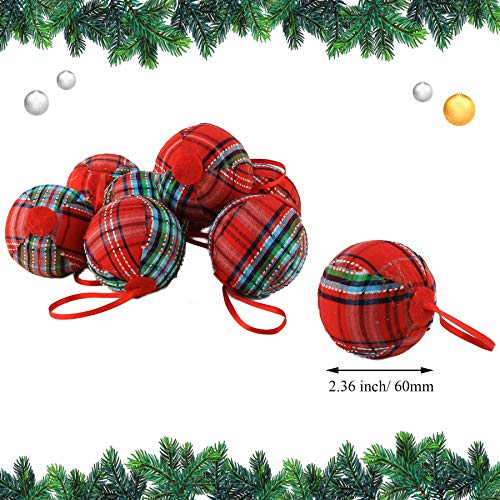 WEWILL 236 60mm Red Plaid Ball Christmas Ornament Party DecorationSet Of 10 Style 2 0 0