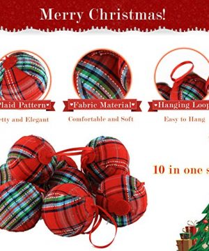 WEWILL 236 60mm Red Plaid Ball Christmas Ornament Party DecorationSet Of 10 Style 2 0 1 300x360