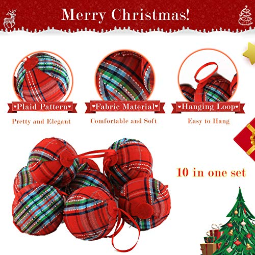 WEWILL 236 60mm Red Plaid Ball Christmas Ornament Party DecorationSet Of 10 Style 2 0 1