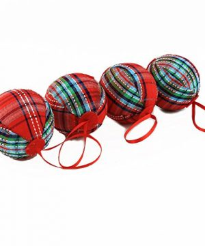 WEWILL 236 60mm Red Plaid Ball Christmas Ornament Party DecorationSet Of 10 Style 2 0 2 300x360