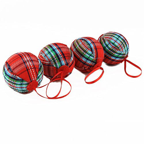 WEWILL 236 60mm Red Plaid Ball Christmas Ornament Party DecorationSet Of 10 Style 2 0 2
