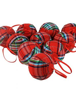 WEWILL 236 60mm Red Plaid Ball Christmas Ornament Party DecorationSet Of 10 Style 2 0 300x360